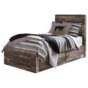 Rustic Modern Twin Storage Bed with 5 Drawers