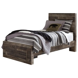 Rustic Modern Twin Storage Bed with Footboard Drawer