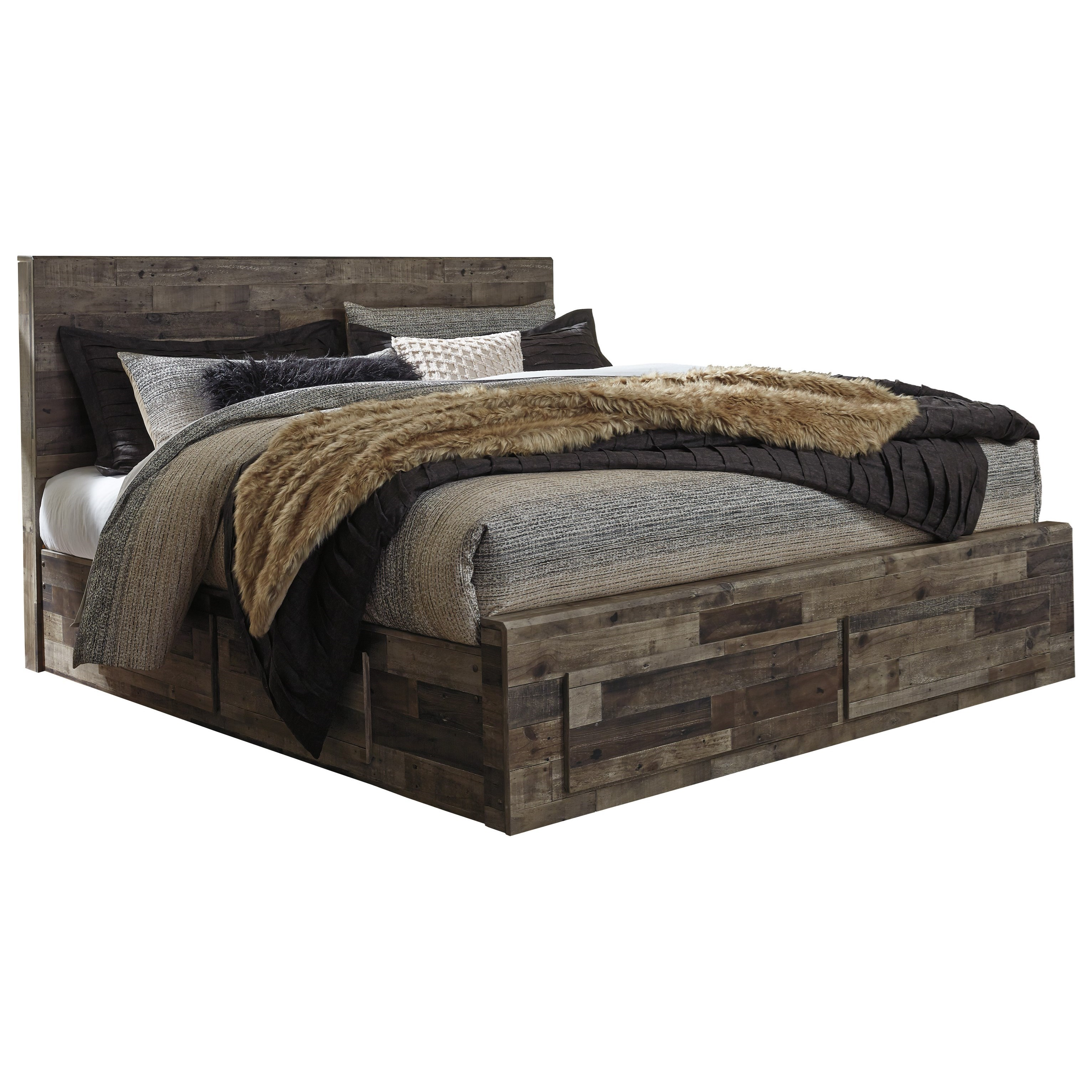 Derekson King Storage Bed with 6 Drawers by Benchcraft at Walker's Furniture