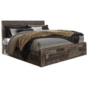 Rustic Modern King Storage Bed with 6 Drawers