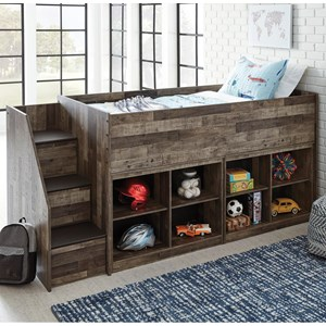 Rustic Low Loft Bed with Bookcase Storage