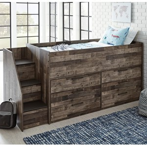 Rustic Low Loft Bed with Drawer Storage