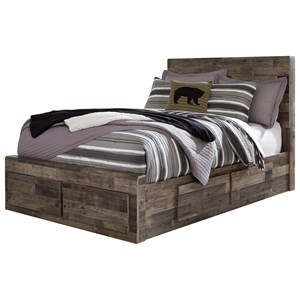 Rustic Modern Full Storage Bed with 6 Drawers