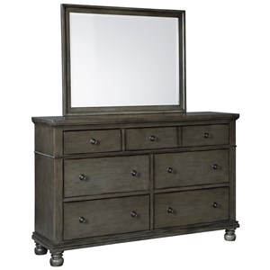 Transitional Seven Drawer Dresser Mirror Set with Grey Finish