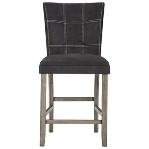 Dark Brown Faux Leather Counter Height Upholstered Barstool
