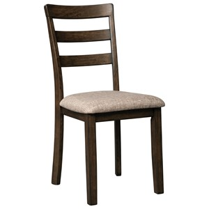 Ladder Back Dining Side Chair with Upholstered Seat