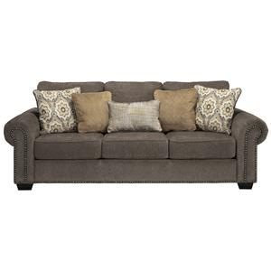 Transitional Queen Sofa Sleeper with Nailhead Trim & Coil Seating