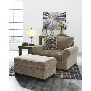 Chair and a Half and Ottoman with Rolled Arms