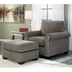 Transitional Chair with Nailheads & Ottoman
