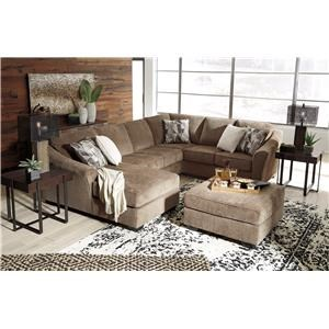 Contemporary 3-Piece Sectional with Chaise and Ottoman Set