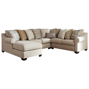 Casual Contemporary 4-Piece Sectional with Chaise