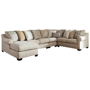 Casual Contemporary 5-Piece Sectional with Chaise