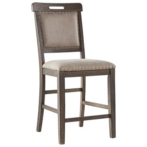 Casual Upholstered Barstool with Nailhead Trim