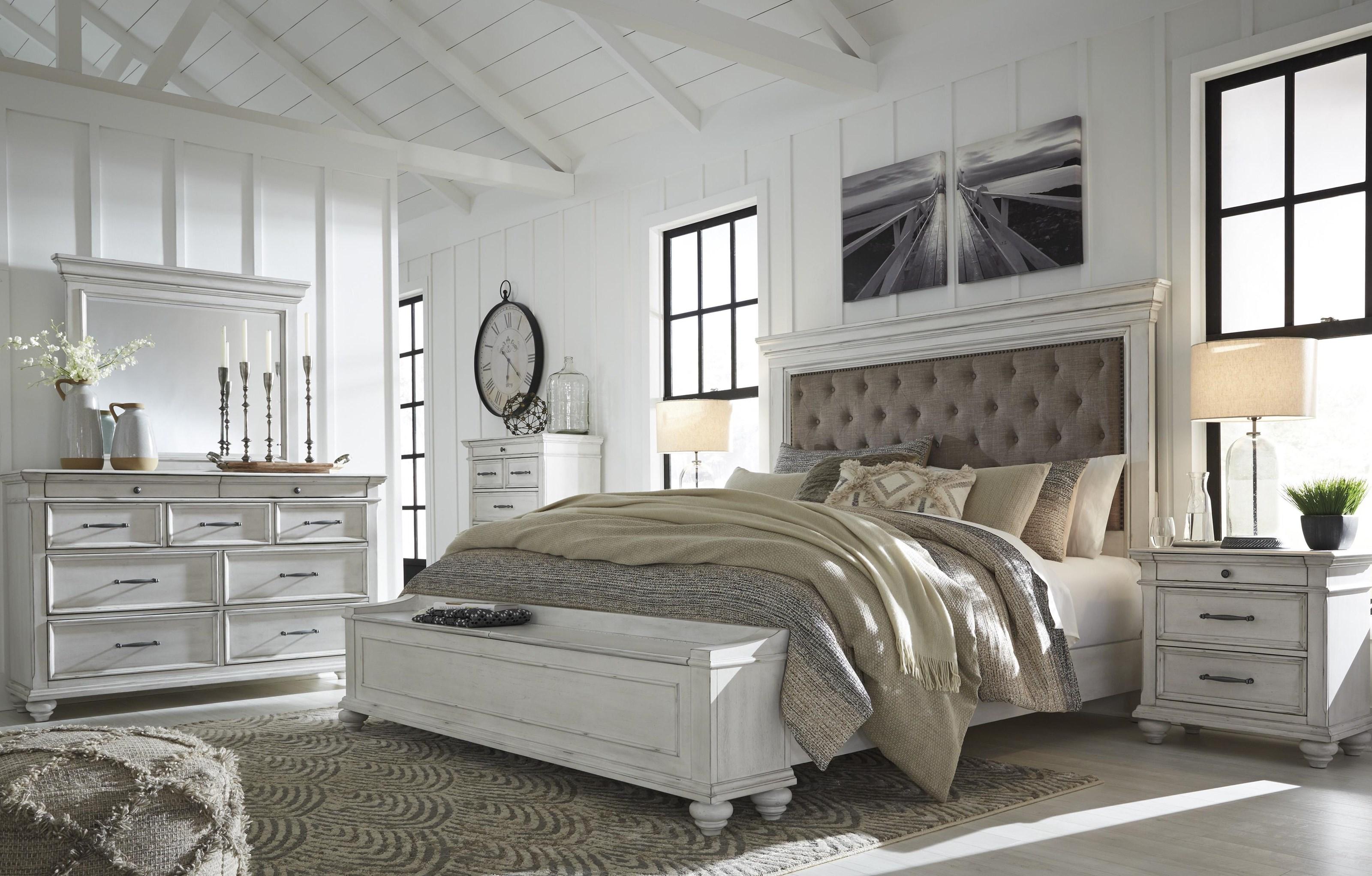 Kanwyn 6 Piece Upholstered King Bedroom Set by Benchcraft at Sam Levitz Furniture