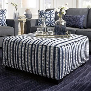 Boho Square Oversized Accent Ottoman in Blue Striped Fabric