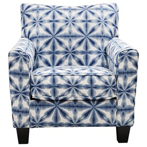 Contemporary Accent Chair in Blue Abstract Floral Fabric