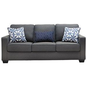 Contemporary Sofa in Easy-Clean Gray Fabric