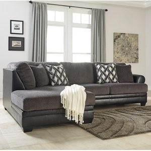 2-Piece Fabric/Faux Leather Sectional with Left Chaise