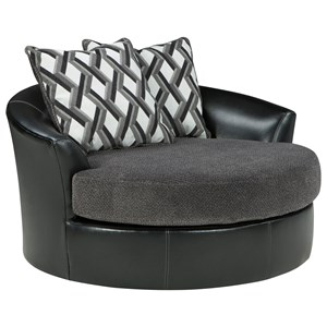 Contemporary Fabric/Faux Leather Oversized Swivel Accent Chair