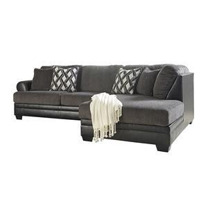 2-Piece Fabric/Faux Leather Sectional with Right Chaise