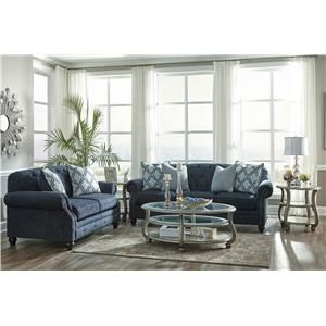 Navy Sofa and Loveseat Set