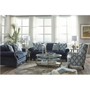Navy Sofa, Loveseat and Accent Chair Set