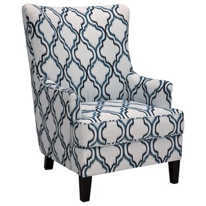 Transitional Wing Back Accent Chair
