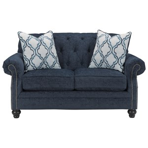 Transtional Loveseat with Tufted Back
