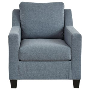 Contemporary Chair in Blue Fabric