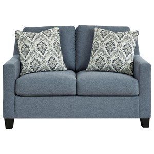 Contemporary Loveseat in Blue Fabric
