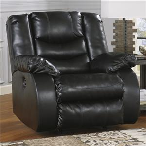 Contemporary Rocker Recliner with Pillow Arms