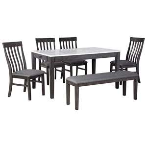6-Piece Dining Set with Bench and Faux Marble Top Dining Table
