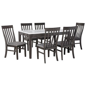 7-Piece Dining Set with Faux Marble Top Dining Table