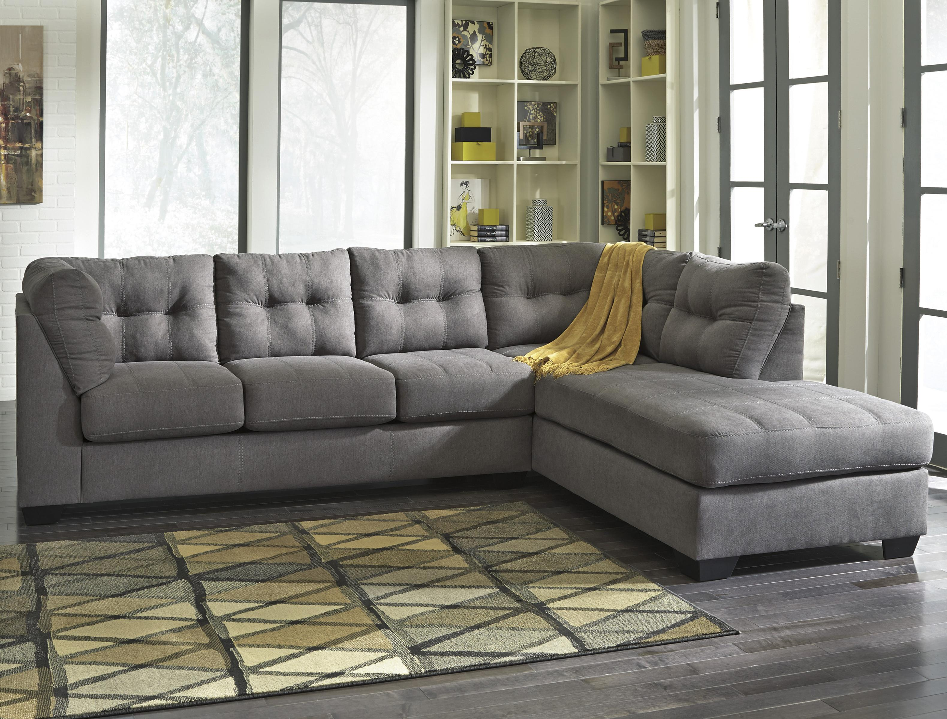Maier - Charcoal 2-Piece Sectional w/ Sleeper Sofa & Chaise by Benchcraft at Beck's Furniture