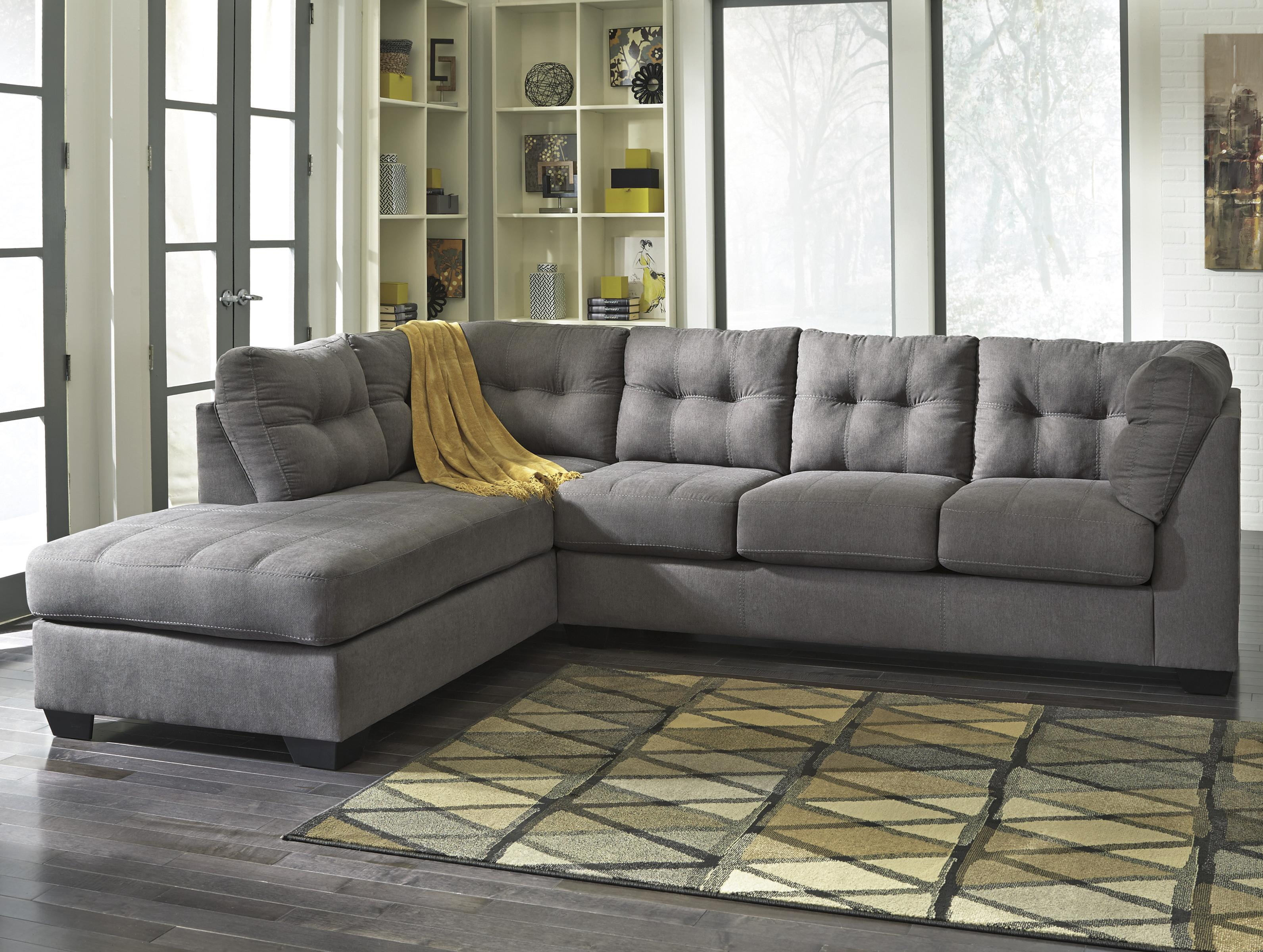 Maier - Charcoal 2-Piece Sectional w/ Sleeper & Chaise by Benchcraft at Standard Furniture