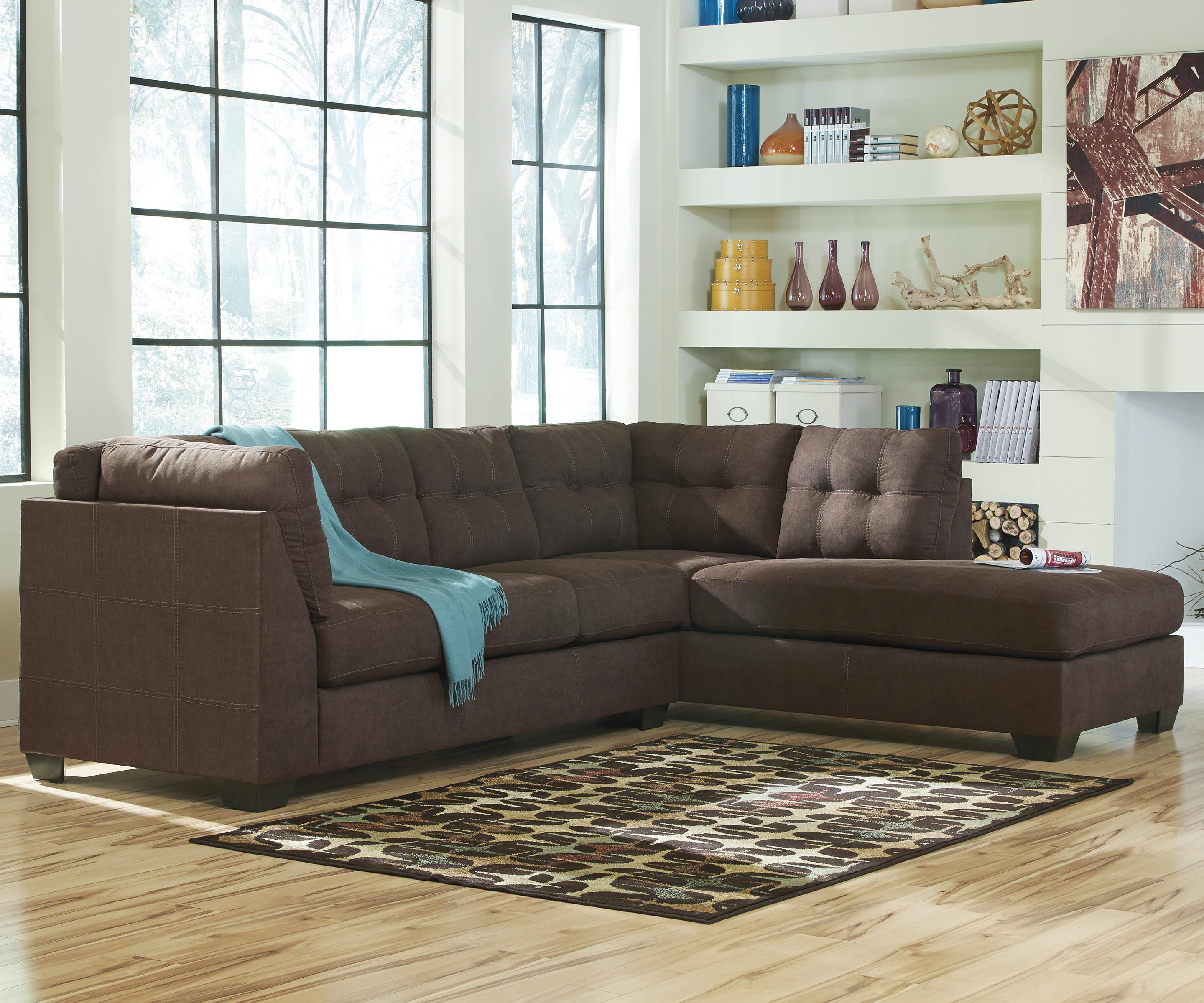 Maier - Walnut 2-Piece Sectional w/ Sleeper Sofa & Chaise by Benchcraft at Beck's Furniture