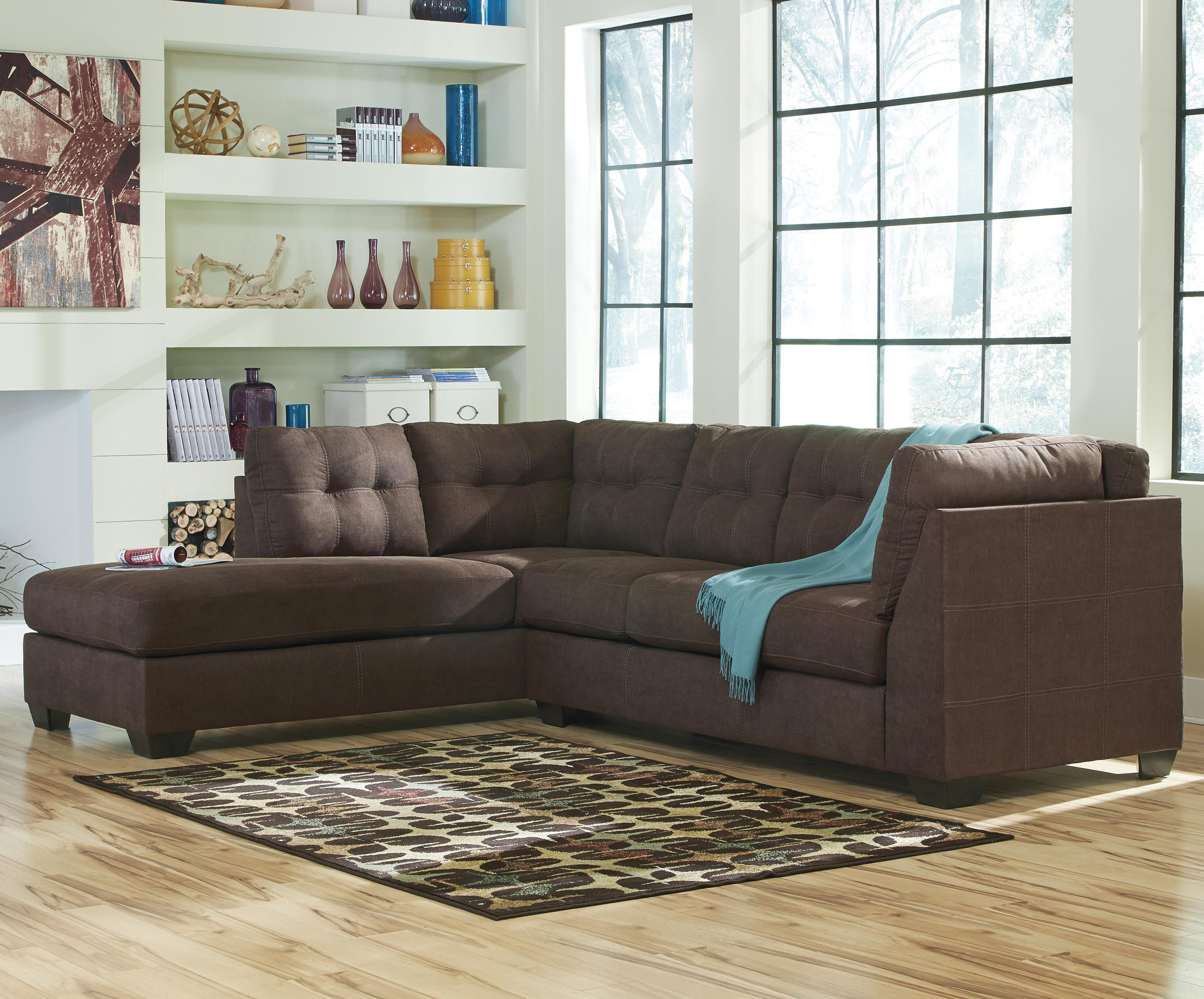 Maier - Walnut 2-Piece Sectional w/ Sleeper & Chaise by Benchcraft at Northeast Factory Direct