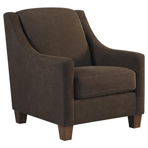 Contemporary Accent Chair with Sloping Track Arms