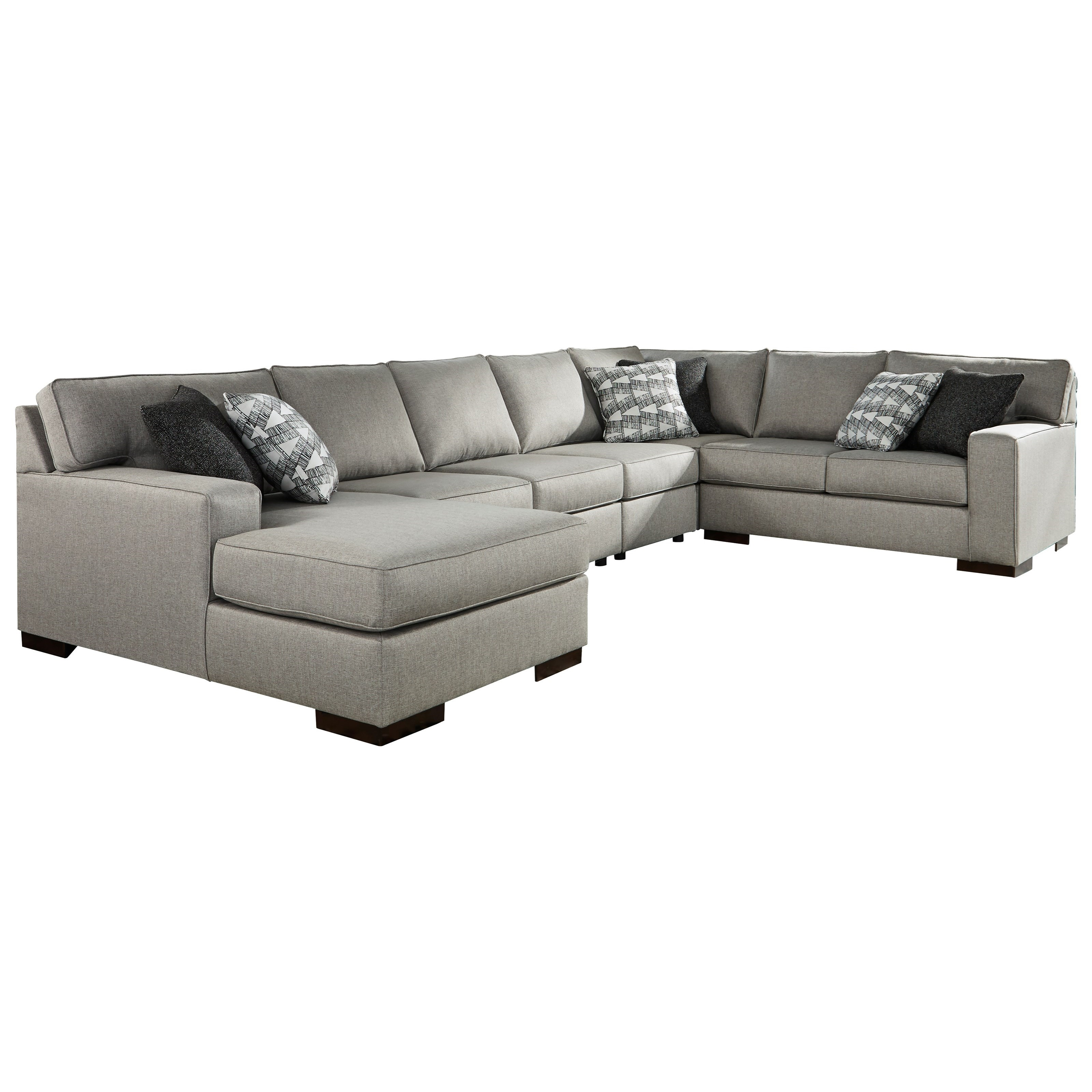Marsing Nuvella 5-Piece Sectional with Chaise & Sleeper by Benchcraft at HomeWorld Furniture