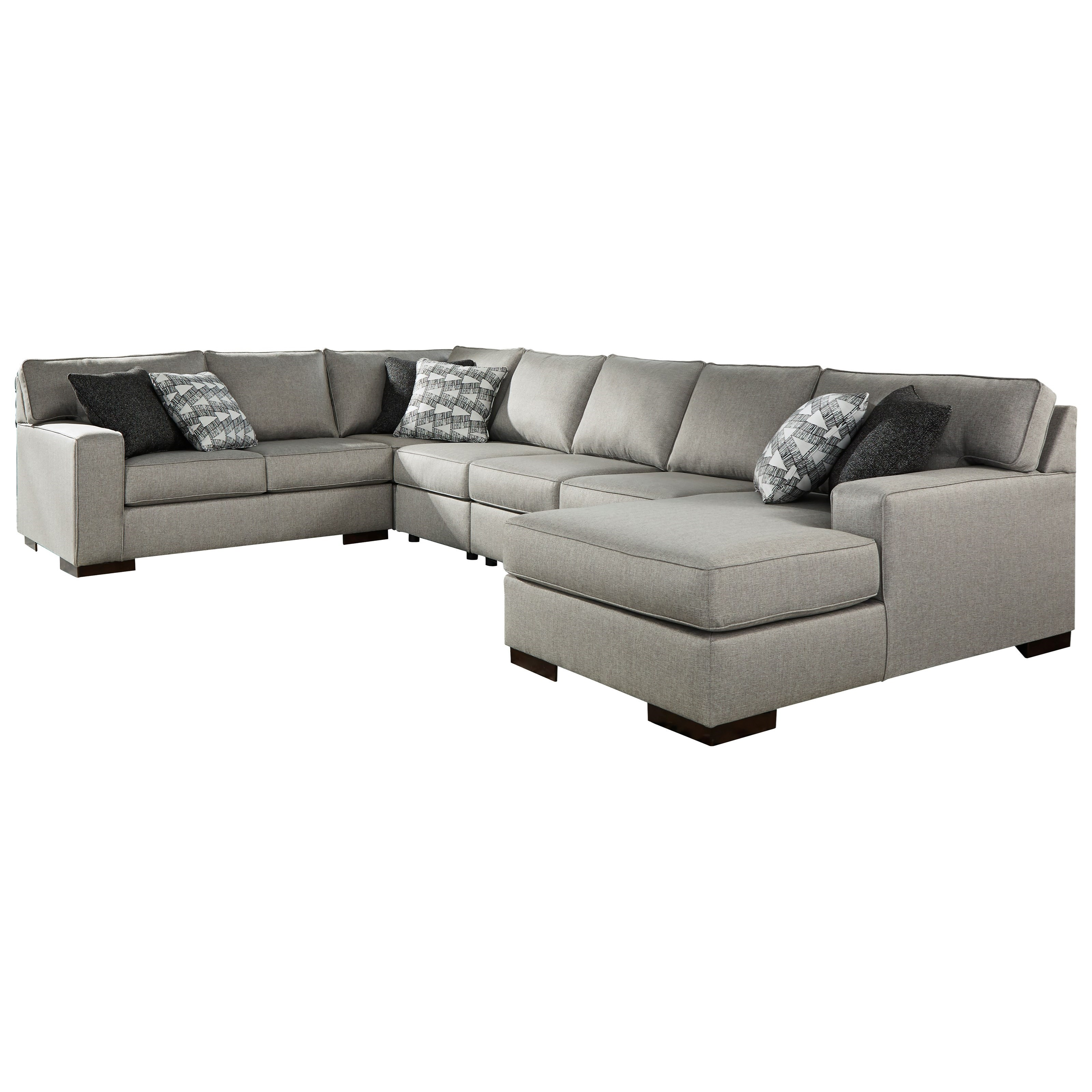Marsing Nuvella 5-Piece Sectional with Chaise & Sleeper by Benchcraft at Walker's Furniture