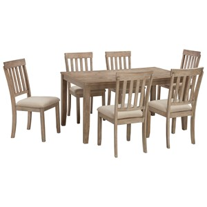 Casual Dining Room Table Set with 6 Chairs