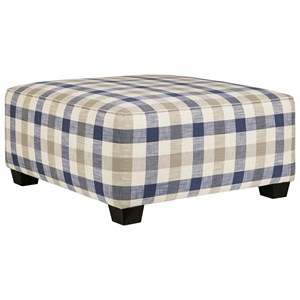 Plaid Square Oversized Accent Ottoman