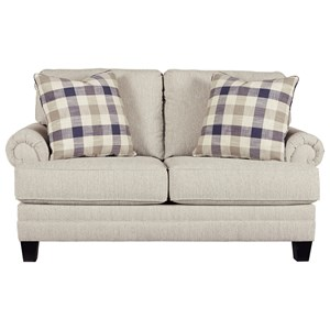 Loveseat with Rolled Arms with Pleats