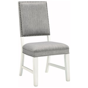 Transitional Upholstered Dining Chair with Nailhead Trim