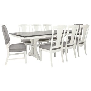 Transitional 9-Piece Dining Set with Upholstered Chairs