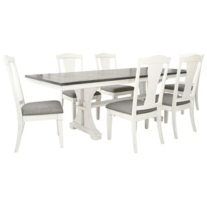 7-Piece Dining Set with Upholstered Chairs