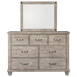 Rustic Dresser & Bedroom Mirror in Gray Finish