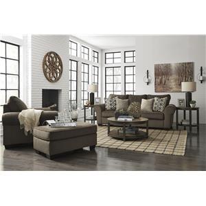 Walnut Sofa, Chair and Ottoman Set