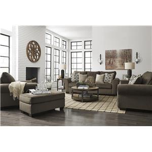 Walnut Sofa, Loveseat, Chair and Ottoman Set