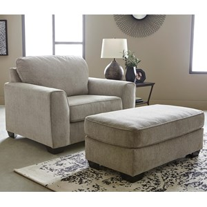 Contemporary Chair and 1/2 & Ottoman Set